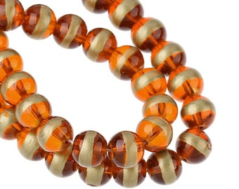 Glass Beads Bulk 100 - Amber Orange with Gold stripes - BD496