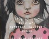 folk art portrait painting...polka dot sally.... my new online class...step by step easy instruction by karen milstein
