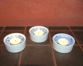 Light blue candle holder winter ice icy home decor dreamy mirrored mosaic set of 3