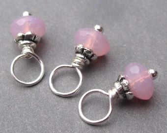 Wire Wrapped Bead Dangles Charms Pink Czech Glass with Petite Bead Caps
