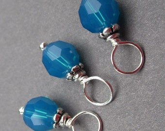 Birthstone Charms Swarovski Crystal Wire Wrapped Dangles with Petite Bead Caps Caribbean Blue 6mm