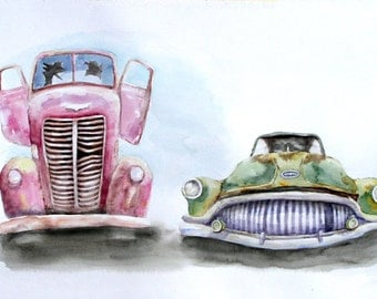 Two Old Cars,   Holiday present / birthday present / art collection