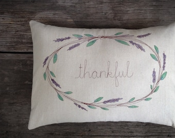 Lavender Wreath, Thankful Pillow, Decorative Pillow Cover, Personalized Home Decor, Cottage Style Room Decor, Embroidered Pillow