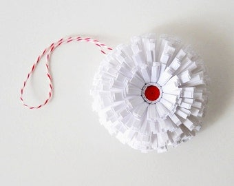 Handmade Paper Flower Ornament - Red, White, Xmas, Three Inches, Snow, Winter, Hang, Hanging, Decoration, Minimal, Baker's Twine, Peppermint