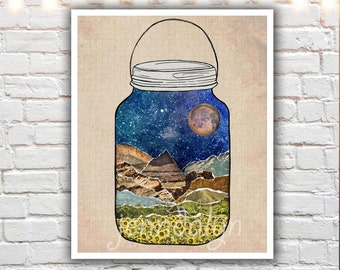 camping wall art - nature wall art - star jar - mixed media collage art - bohemian art - nature prints