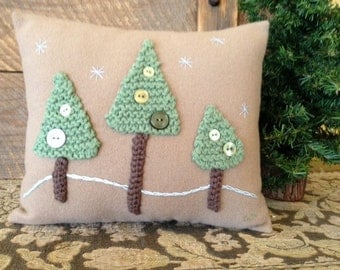 Woodland Trees Winter Embrodiery Knitted Pillow Mixed Medium