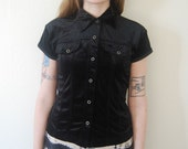 RESERVED -- Black Velvet 90s Button-Up Blouse --RESERVED