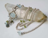 Carved Aquamarine wire wrapped gemstone necklace - Sterling Silver - blue Topaz - Garnet - Tourmaline - faceted beads - Gemstone jewelry