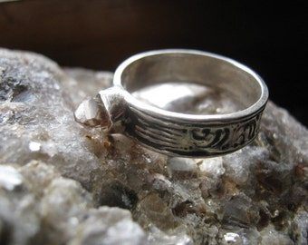 Unisex Raw Precious Champagne Topaz Crystal Collector Specimen ring Handmade Patterned Sterling Silver custom size 8.5 9