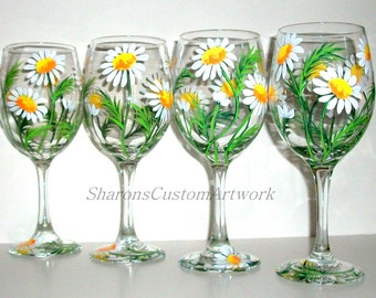 Bridesmaids Gifts Springtime White Daisies Hand Painted Wine Glasses Set of 4 / 20 oz. Bachelorette Party Maid of Honor Mother of the Bride