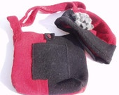 Red and Black  Wool Hat and Purse Set: handmade, upcycled from a felted wool sweater