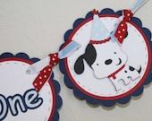 Puppy High Chair Banner - 1st birthday banner, I Am One, Dog theme
