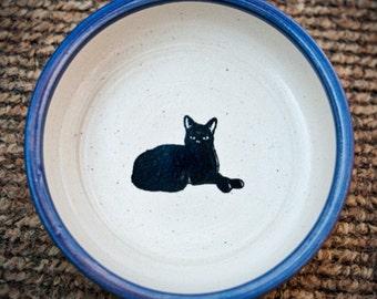 Black Cat Resting in Indigo (Small)