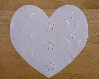 Heart #2 - Iron on Fabric Applique -  10.5cm x 9.5cm large fabric iron on heart, made to order, choose your fabrics, ships from UK