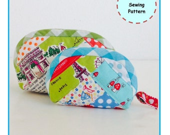 PDF Half Moon Patchwork Pouch - Zakka Sewing Pattern - Instant Download