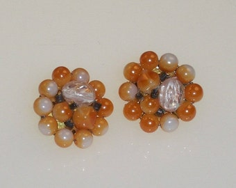 Vintage Beaded Earrings Orange White Glass Beads 1950s