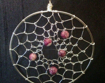 Wire Wrapped Dreamcatcher Necklace Earring Set Sugilite