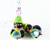 Christmas Earrings, Penguin Lampwork Earrings, Glass Bead Earrings, Black Dangle Earrings, Colorful Lampwork Jewelry, Beadwork Earrings