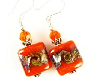 Burnt Orange Lampwork Glass Bead Earrings - Summer Drop Dangle Earrings