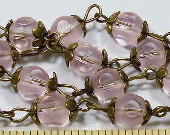 Vintage Pink Window Glass Bead Necklace