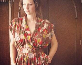 gathered wrap around button waist dress- custom made to measure- light weight challis