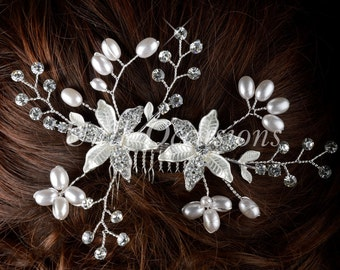 Pearl Crystal Flower Hair Comb - Style 37