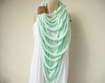 Mint Infinity Scarf-Velvet Handmade Loop Scarf -Fringe Knitted Infinity Scarf-Extra Long with Leather Cuff