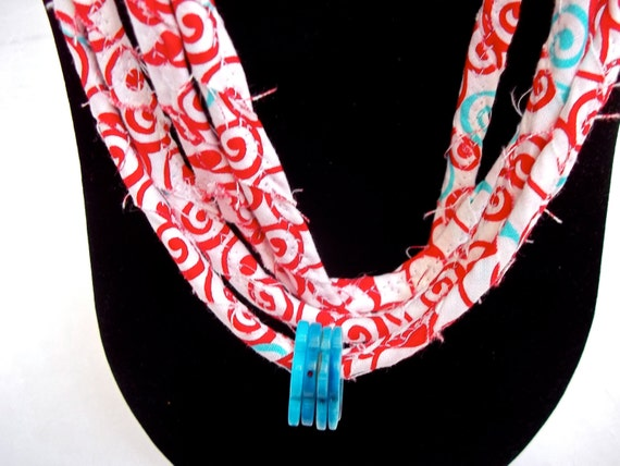 Summer Statement Necklace, Handmade Red and Turquoise Skinny Necklace, Modern Red Infinity Necklace, Pretty Aqua and Red Necklace