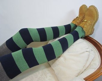 Blue Green WIDE Striped Thigh high socks Over the knee Leg warmers Boot Sock Navy Stripe A1430