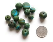 SALE polymer clay beads set of 14 camouflage black forest green turquoise blue teal round beads flat disk beads components jewelry supply