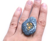 Statement ring The Eye of the Sun irregular mosaic ring cocktail ring yellow orange black and antiqued silver oriental style unique ring