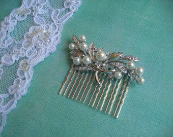 ERICA  ~ Bridal Silver Spray with Ivory Pearl Hair Comb/ Bridal Bouquet Adornment