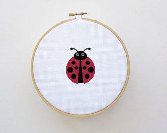 Ladybug Cross Stitch Pattern Instant Download - Digital File - Hoop Art, Counted Cross Stitch Pattern, X Stitch
