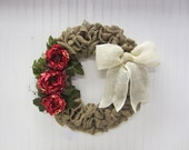 Handmade Burlap Wreath with Pinkish Red Roses and a Creamy White Burlap Bow