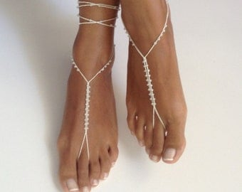 ivory, Barefoot Sandals bead , wedding , Bikini , Women , Beach , Bridal Shoes , Bridal Sandals , Bridal Jewelry ,shoes , READY TO SHIP
