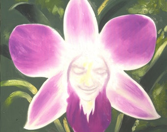 Orchid flower illusion 30x30 original oils on canvas painting by RUSTY RUST / M-324