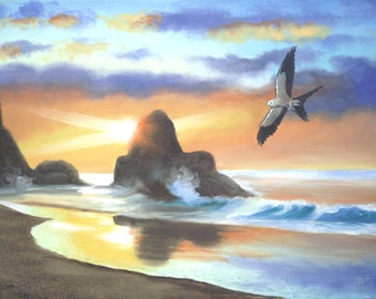 Swallow-Tailed Kite wildlife bird 24x36 oils on canvas painting by RUSTY RUST / K-11