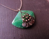 Evodine's Emerald Agate Necklace - Green Dragon Vein Agate, Vintage Jewelry Assemblage Pendant