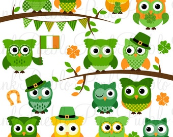 St Patrick's Day Owl Clipart Clip Art, St Patricks Day Owls Bird Clipart Clip Art Vectors - Commercial and Personal