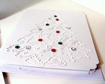 Christmas Card Set- Christmas Tree Cards- Holiday Cards- Set of 6 Cards- Embossed Cards- Printed Cards- Greeting Cards-  Handmade