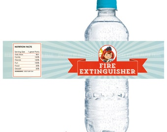 Firetruck, Fireman, Fire Engine Water Bottle Label, Print your own, Digital File, Instant download