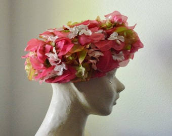 Vintage Hat 1950s Woman Hat Silk Flower Hat Silk Organza Floral Hat Pink and Green Hat Beresford Hat Spring Summer Hat