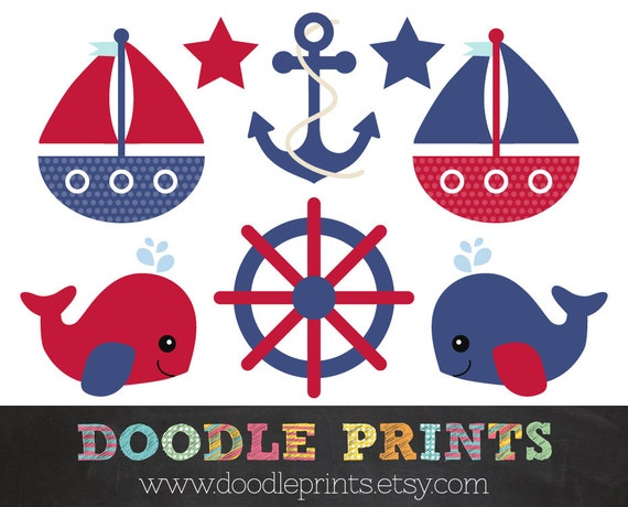 Nautical Clipart - Digital Clip Art - Sailboats, Whale, Anchor - Red and Navy Nautical // Navy and Light Blue - Personal and Commercial Use