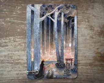 Beginning / Fox Woman, Japanese Art, Fantasy, Yokai, Asian Style / 4x6 Glossy Postcard Rounded Corners
