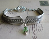 August Peridot Birthstone Silver Spoon Bracelet FREE SHIPPING