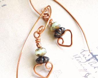 Copper Gemstone Earrings