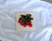 Vintage Chalkware Cherries Wall Hanging | Plaster Wall Decor