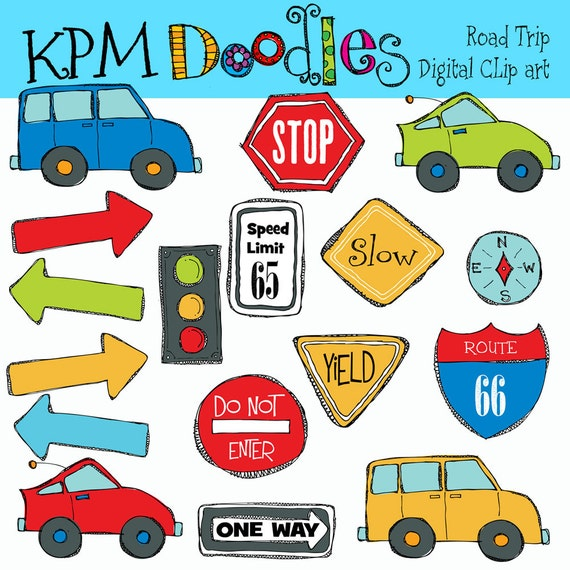 Gift Ideas For Truck Drivers KPM Road Trip Digital Clip Art and stamps COMBO by kpmdoodles