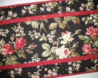 Floral Table Runner, quilted table runner, handmade, roses in red, pink and white fabric from Maywood