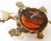 Vintage jewelry brooch in tortoise turtle gold with brown crystal shell body turtle brooch Sale half price